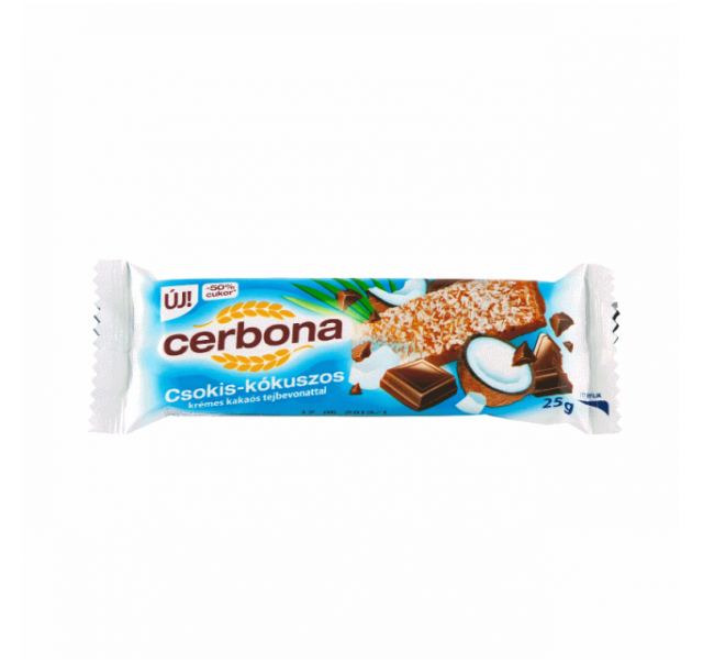 Cerbona müzliszelet 25 g csokis-kókuszos talp