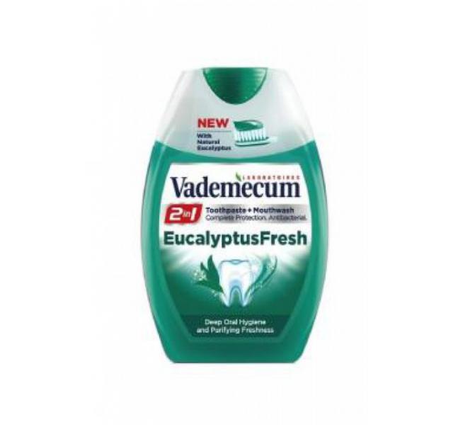 Vademecum 2in1 fogkrém+öblítő 75 ml Eucalyptus Fresh